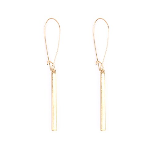 Riah Fashion Women's Matte Vertical Bar Drop Earrings (Gold)