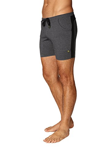 4-rth Mens Transition Yoga Shorts (Medium, Charcoal w/Black) For Sale