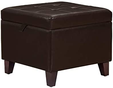 Homebeez Storage Ottoman Faux-Leather Foot Rest Stool Square Footstool