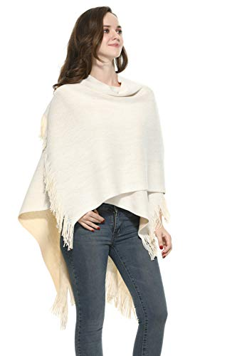 Cape Cardigan Sweater for Women Poncho Cape Black Green Red The Twins Dream, Cream/Kaki, One Size