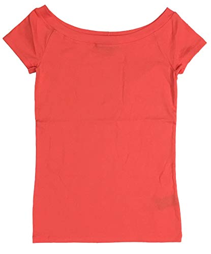 Ralph Lauren Lauren Stretch Cotton Off-The-Shoulder Tee Top (PS, Orange)