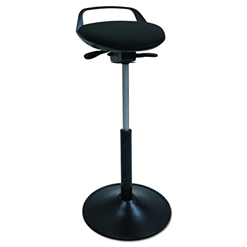 (Alera Plus SQ600 Perch Sit Stool, Black with Black Base)
