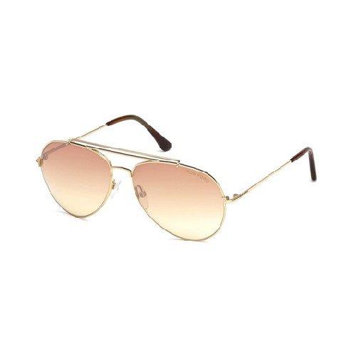Tom Ford FT497 28Z Shiny Rose Gold Indiana Pilot Sunglasses Lens Category 2 Len
