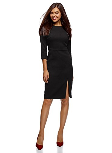 oodji Collection Mujer Vestido con Cremallera y Abertura Lateral Negro (2900n)