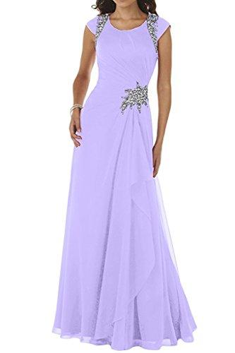 Abendkleider Formal A La Kurzarm mia Braut Lilac Bodenlang Kleider Brautmutterkleider Festlich Rock Blau Kleider Chiffon Linie qxfwFBw0Y