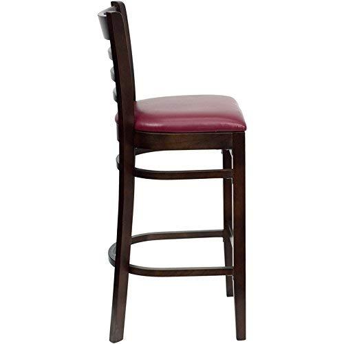 Flash Furniture HERCULES Series Ladder Back Walnut Wood Restaurant Barstool - Burgundy Vinyl ()