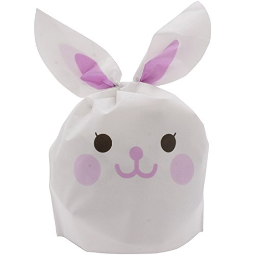 (plum forest) 스마일 토끼 선물 가방 포장 용품 비닐 봉투 쇼핑백 50 장 퍼플/핑크/블루 S/M/L/XL