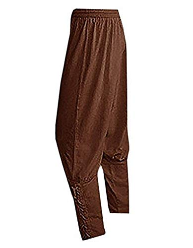 Bbalizko Men's Ankle Cuff Renaissance Pants Medieval Viking Navigator Trousers with Drawstrings (Small, Brown) -