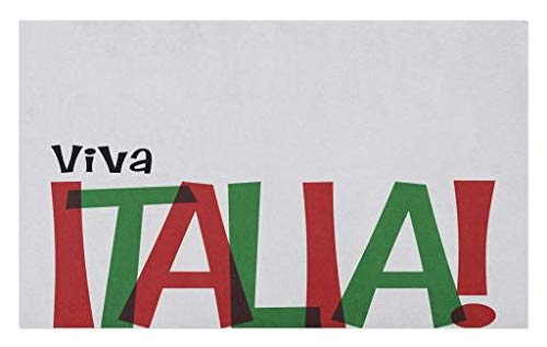 Lunarable Italian Flag Doormat, Viva Italia Quote in Flag Colors National Celebration Lifestyle, Decorative Polyester Floor Mat with Non-Skid Backing, 30 W X 18 L Inches, Ruby Forest Green Black