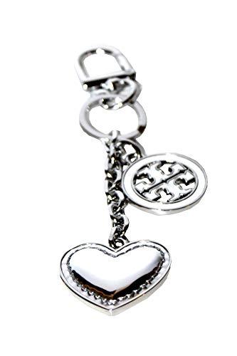 Tory Burch LOGO And Heart Keychain Key FOB Silver ()