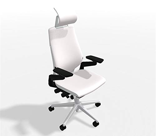 - Steelcase Gesture Office Desk Chair with Headrest Plus Lumbar Support Bo Peep Gravel Fabric Low Platinum Metallic Frame Hard Floor Caster Wheels Hard Floor Caster Wheels