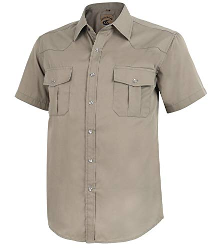 Coevals Club Men's Short Sleeve Casual Western Solid Buttons Shirt (XL, Khaki) (Casual Shirts Mens Button)