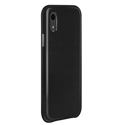 PARFASE iPhone XR Case, Genuine Cowhide Leather Cover Shock Absorption Bumper Cover Anti-Scratch Back Phone Case for Apple iPhone XR 6.1 inch (Black)