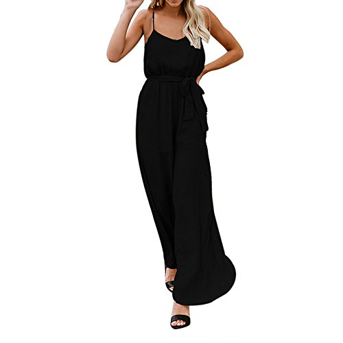 Solid Color one-Piece Wide-Leg Pants Straps Backless Loose Jumpsuit Summer Fashion Sleeveless Elastic Waist Jumpsuit MEEYA ()