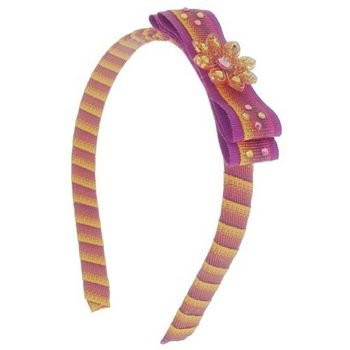 Tarina Tarantino - Fashion Couture - Ombre Collection - Ombre Ribbon-Wrapped Headband w/Bow - Amber #HB03U9-210 ()