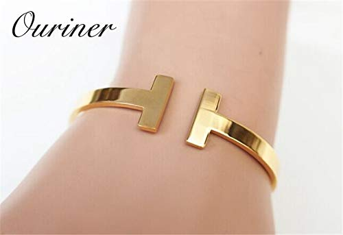 Fashionable Love Stainless Steel Letter Cuff Gold Bracelet | for Women, Men - Fashionable 14k Gold Letter