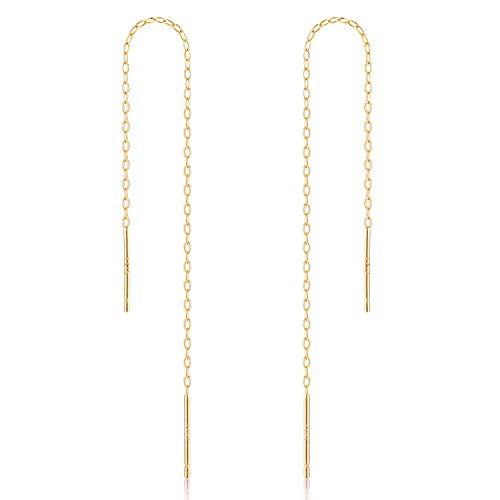 Yellow Gold Dangling Threader Earrings - Gintan Sterling Silver 1mm Threader Earrings, 4 Inch (Gold)
