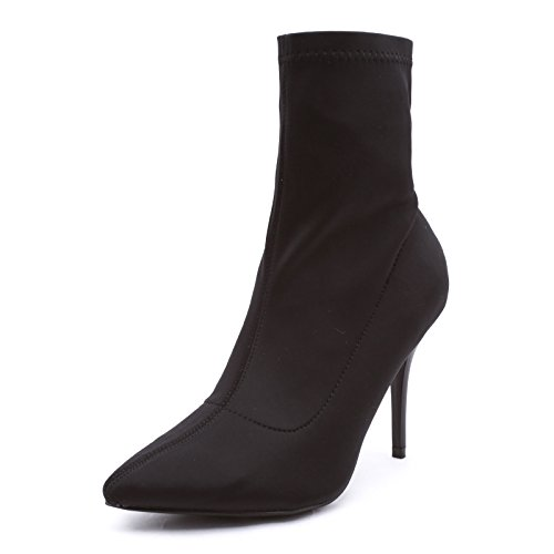 Punta MForshop nero Tronchetto Boots Tacco Ankle Calzino Donna Spillo Stivaletti 1 183 Scarpe 70qrA7