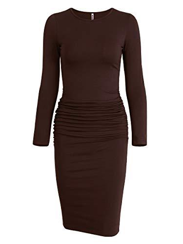Missufe Women's Ruched Casual Sundress Midi Bodycon Sheath Dress (Caramel, Medium)