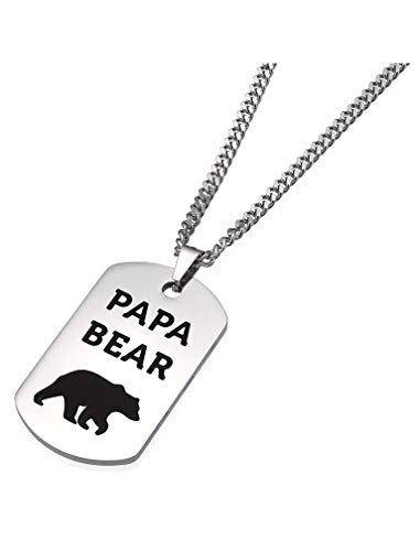 Tstars Dog Tag Gift for Dad - Papa Bear Stainless Steel Pendant Necklace for Father/Grandpa from Daughter/Son Father