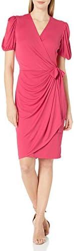 Amazon Brand - Lark & Ro Women`s Matte Jersey Puff Short Sleeve V-Neck Wrap Dress / Amazon Brand - Lark & Ro Women`s Matte Jersey Puff Short Sleeve V-Neck Wrap Dress