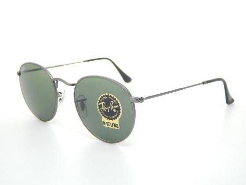 New Ray Ban Round RB3447 029 Matte Gunmetal/Crystal Green Lens 50mm - Round Rb3447 029 Metal