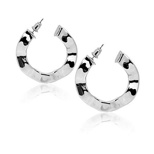 Silver Plated Hoop Earrings Women's Big Flat Twist Hammered Hoop Earring with Piecing Post Drop Dangle Ear Hoops for Women Girls ()