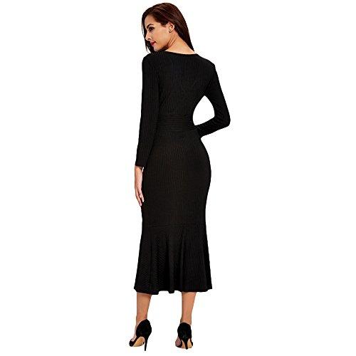 Maxi Ausschnitt V Gerippter Damen Cocktail Long Kleid Figurbetont Sleeve dezzal qUA8wSt