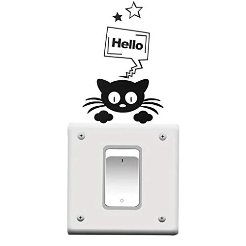MIkilon Removable Switch Sticker, Pack of 10 Black Cute Animal Cartoon Wall Sticker for Light Switch, Family DIY Decor Home Wall Art Decal for Kids Living Room Office Home Decoration (Cat D)