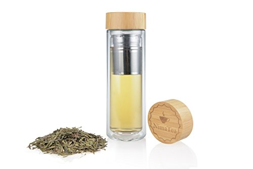 NimaTea Tea Infuser Glass Tumbler (15 oz) with Bamboo Lid, Comes with Stainless Steel Basket, Strainer and Sleeve - Portable Brewing Tea Maker with Double Wall Insulated Bottle