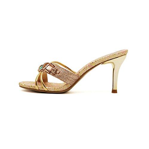 WSK Schuhe mit hohen Absätzen Flipflops mit Strass Damen Sandalen und Pantoffeln Große Damen Sandalen mit Damenschuhen , gold , 35