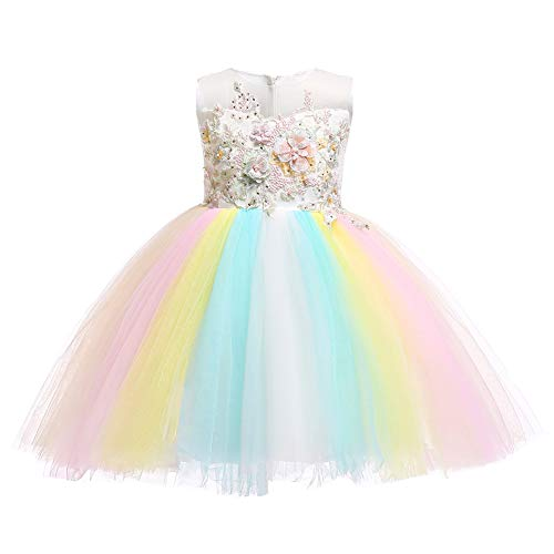 Flower Girl Rainbow Unicorn Dress up Costume Colorful Ruffle Tulle Skirt Birthday Dresses Tutu Outfit for Kids Party Formal Wedding Pageant Ball Gown Big Girls First Communion Prom Dress White 7-8Y