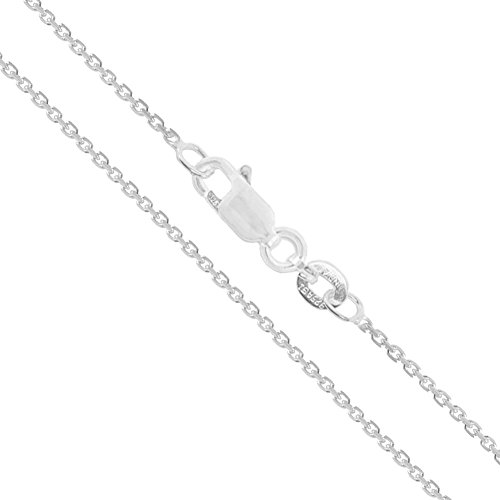 Sterling Silver Light Cable Chain 1.2mm Solid 925 Rolo Link Lobster Claw Clasp Necklace -