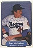 Tom Niedenfuer Los Angeles Dodgers 1982 Fleer Autographed Card - Rookie Card - light signature in ball point pen. This item comes with a certificate of authenticity from Autograph-Sports. Autographed