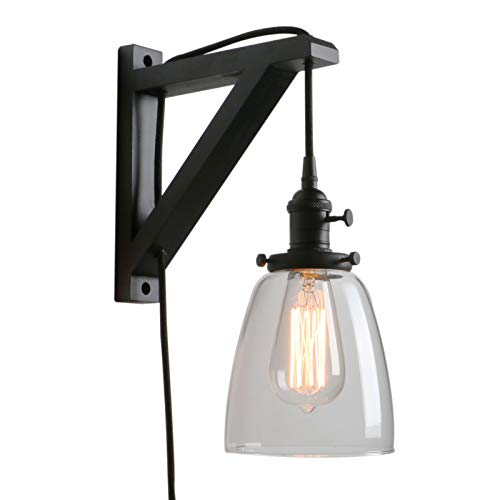 Pathson Retro Wall Light with On Off Switch, 1-Light Plug in Wall Sconce for Bedside, Industrial Style Wall Lamp Fixtures Suitable for TV Wall, Hotel, Bedroom, Living Room (Black)