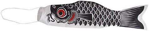 和風日本の鯉吹き流しストリーマー魚旗凧こいのぼりこいのぼり風ストリーマー AMINIY (Color : Black)