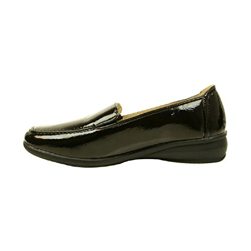 Enfiler À Chaussures Noir Confortable Talon Sortie Keller Décontractées Femmes Compensées Verni Dr Yqxp1Rwwg