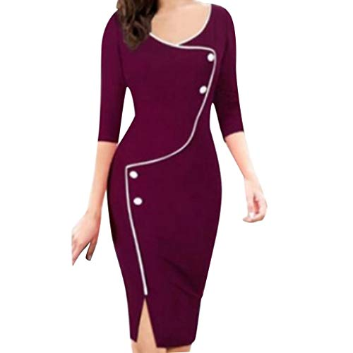 Todaies Women Autumn Winter Casual V-Neck Seven-Point Sleeve Front Fork Pencil Dress (XL, Red)