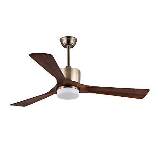 FXY 52 inch LED Ceiling Fan with Lights & Remote Control Wooden Blades Ceiling Fan with Sloped Ceiling Kit for Bedroom Living Room Lofts Dinging Room, Brushed Brass