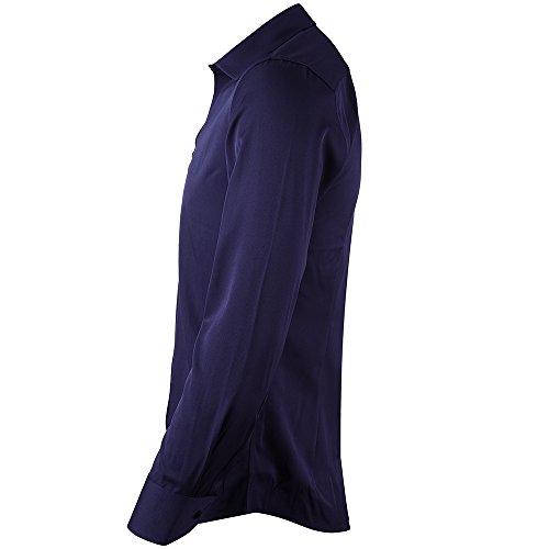 Homme Taille Chemise Bleu Élastique Couleurs Inflation Marine formel Choisir Multiple Casual À Longues Manches Ajustée nEpXxf