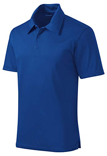 DRIEQUIP Mens Active Textured Polo-L-TrueRoyal