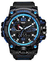 SMAEL Men's Sports Analog Quartz Watch Dual Display Waterproof Digital Watches with LED Backlight relogio masculino (Black Blue)