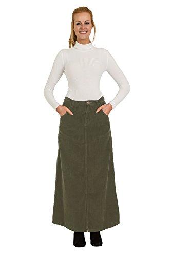 USKEES Fearne Long Corduroy Skirt - Olive Maxi Cord Skirt Front Split UK 8-22