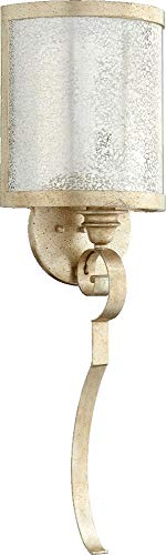 Quorum Lighting 5481-1-60 Champlain Torchiere Glass Wall Sconce Lighting 20W Aged Silver Leaf