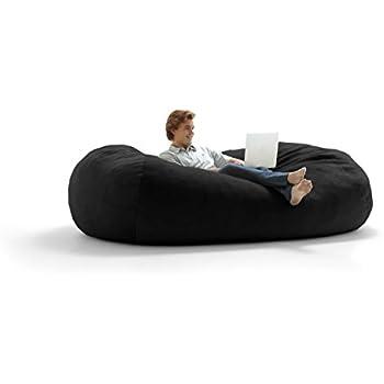 Big Joe Lux XXL Fuf Foam Filled Bean Bag Chair Ripple Black