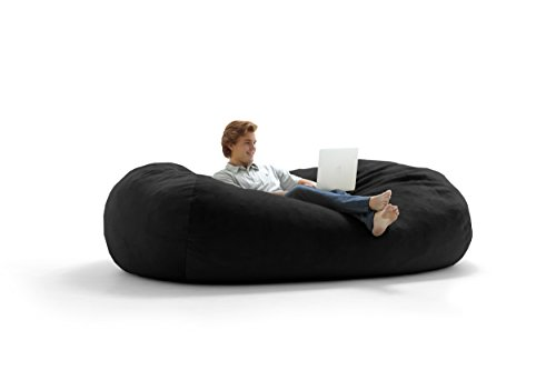 Big Joe Lux XXL Fuf Foam Filled Bean Bag Chair, Ripple, - Black Bag Lux