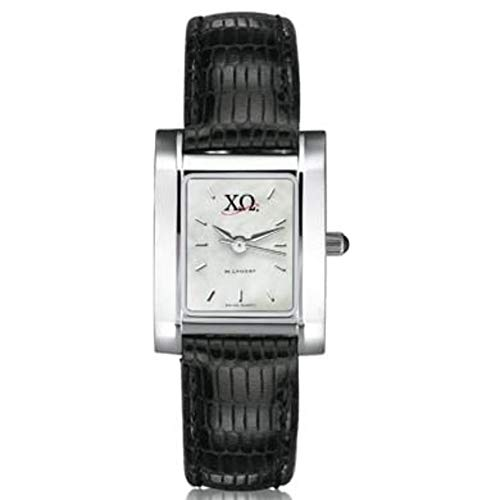 M. LA HART Chi Omega Women's Mother of Pearl Quad Watch with Leather Strap ()