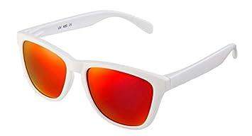 HYSTERESIS IBIZA - Gafas de Sol Wayfarer Blancas con cristales espejo rojos polarizados