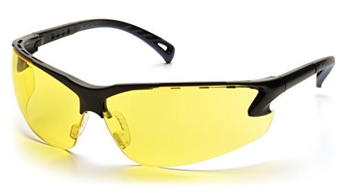 Pyramex Venture 3 Safety Eyewear, Amber Lens With Black Frame