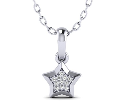 Fehu Jewel Women's 0.03 Natural Diamond Star Shaped White Gold Over Silver Diamond Pendant Necklace 18